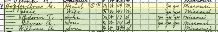 Arno Hopfer 1920 census Union Township MO