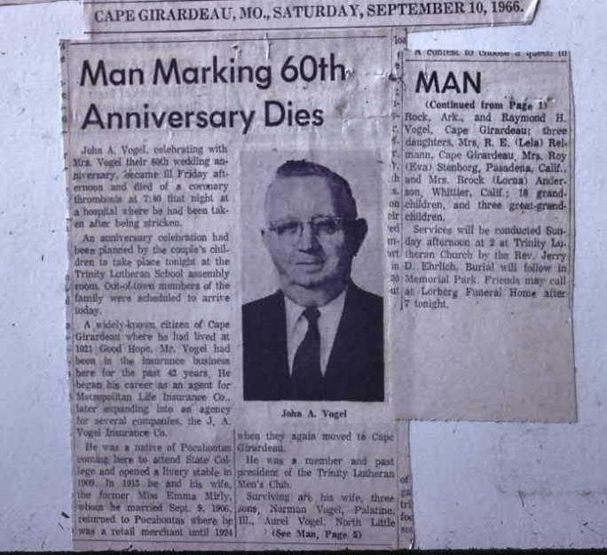 Arthur Vogel obituary article SE Missourian