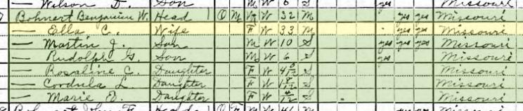 Benjamin Bohnert 1920 census Longtown MO