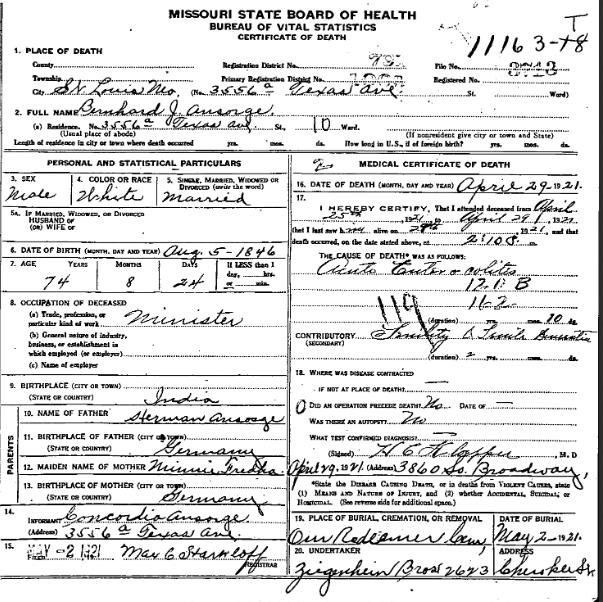 Bernhard Ansorge death certificate
