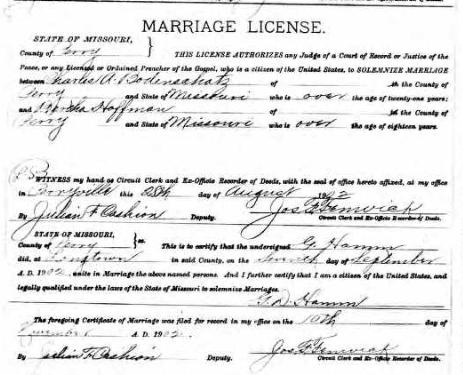 Bodenschatz Hoffmann marriage license