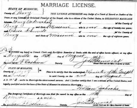 Bodenschatz Schmidt marriage license