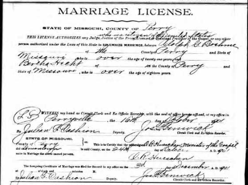 Boehme Hecht marriage license