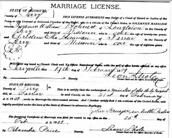 Bohnert Hemmann marriage license