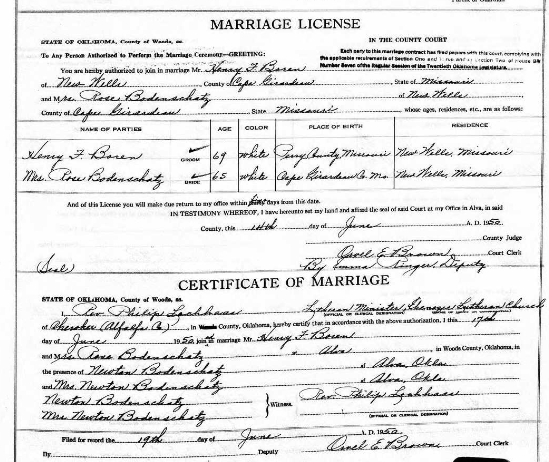 Boren Bodenschatz marriage record Alva OK