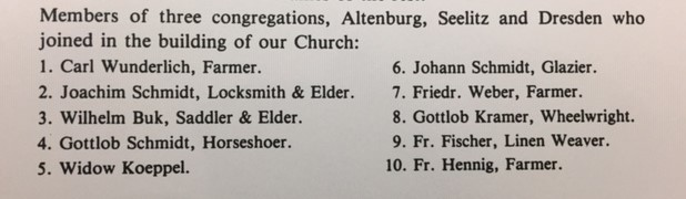 Building Committee members 1845 church