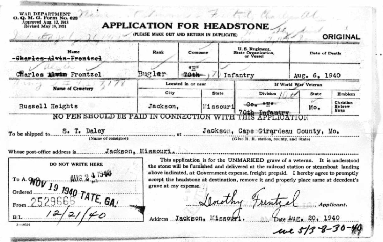 Charles Frentzel application for headstone