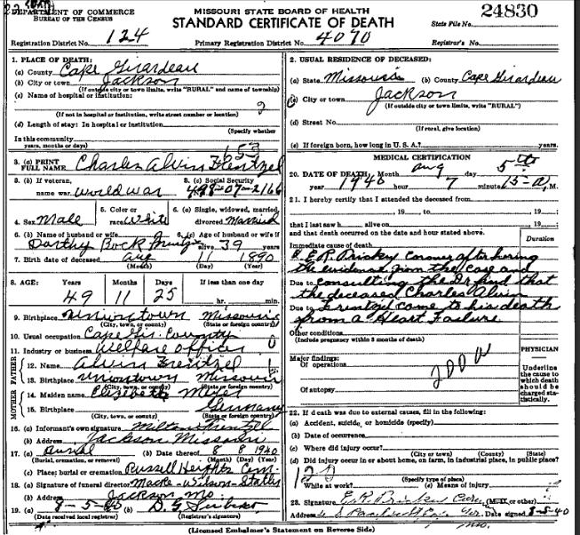 Charles Frentzel death certificate