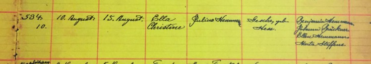 Christine Hemmann baptism record Grace Uniontown MO