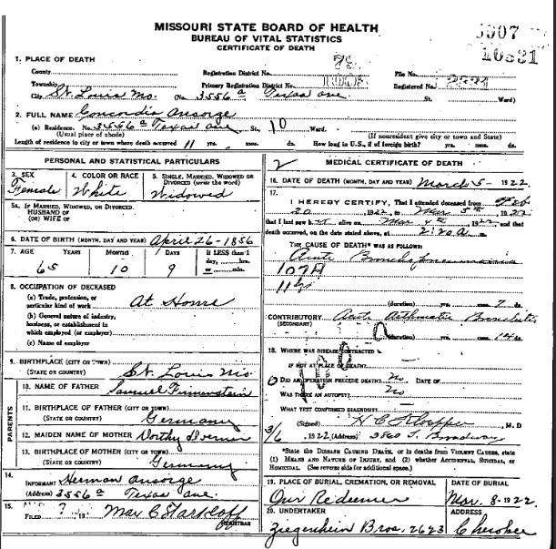 Concordia Ansorge death certificate