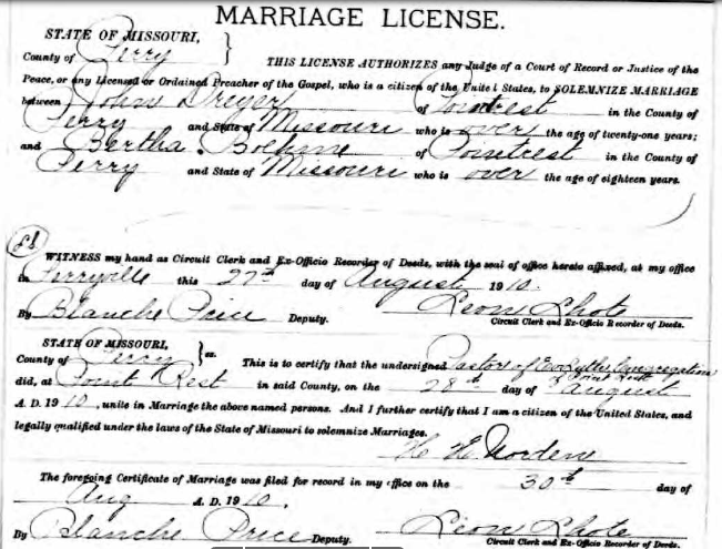 Dreyer Boehme marriage license