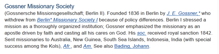 Gossner Missionary Society info