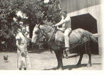 Grandma Anna Guetersloh with horse