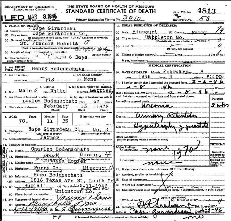 Henry Bodenschatz death certificate