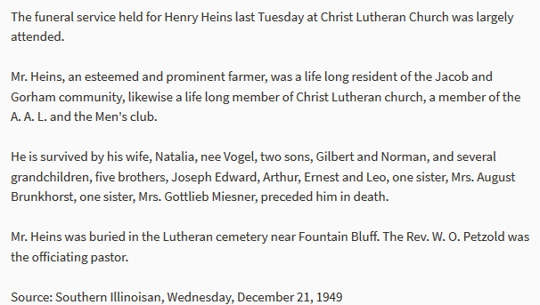Henry Heins obituary