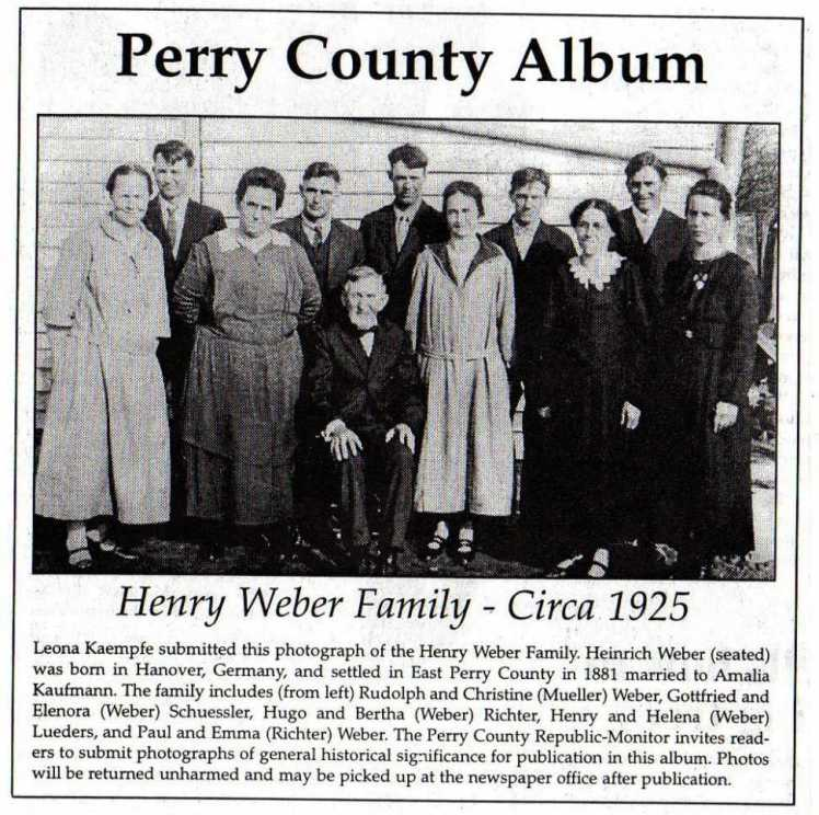 Henry Weber family 1925 from newspaper labeled