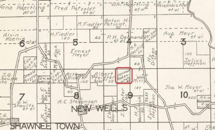 Herman Bodenschatz land map 1930 Cape Girardeau County