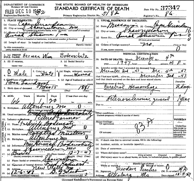 Herman Bodenshatz death certificate
