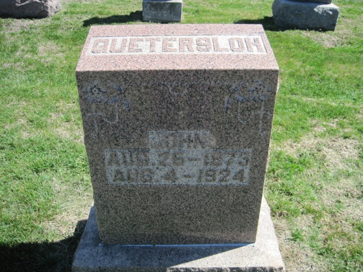 Johann Guetersloh gravestone Christ Jacob IL
