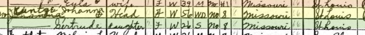 Johanne Kuntze 1940 census St. Louis MO