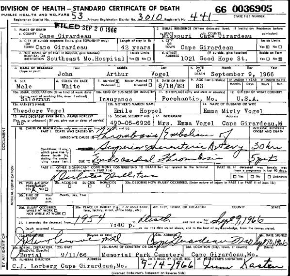 John Arthur Vogel death certificate