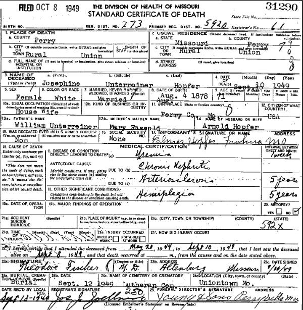 Josephine Hopfer death certificate