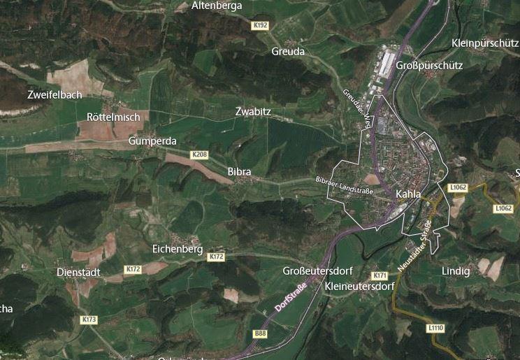 Kahla Eichenberg map Germany