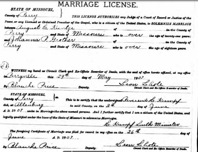 Kuntze Grother marriage license
