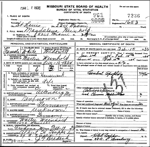 Magdalena Weinhold death certificate