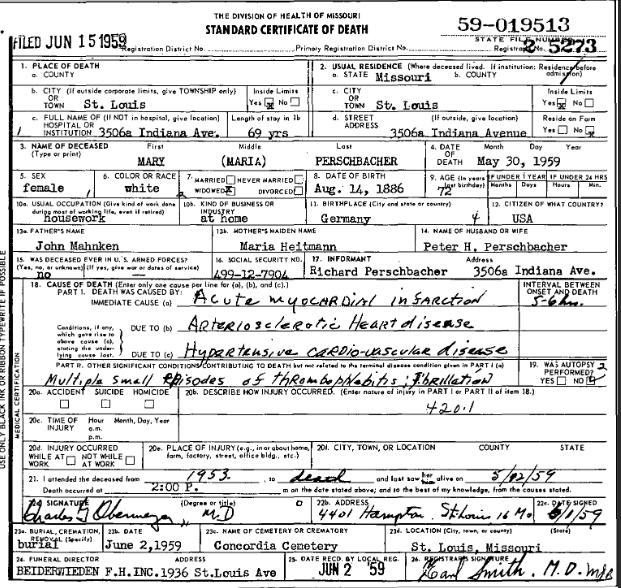 Maria Perschbacher death certificate