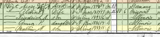 Martin Vogt 1900 census Fountain Bluff Township IL