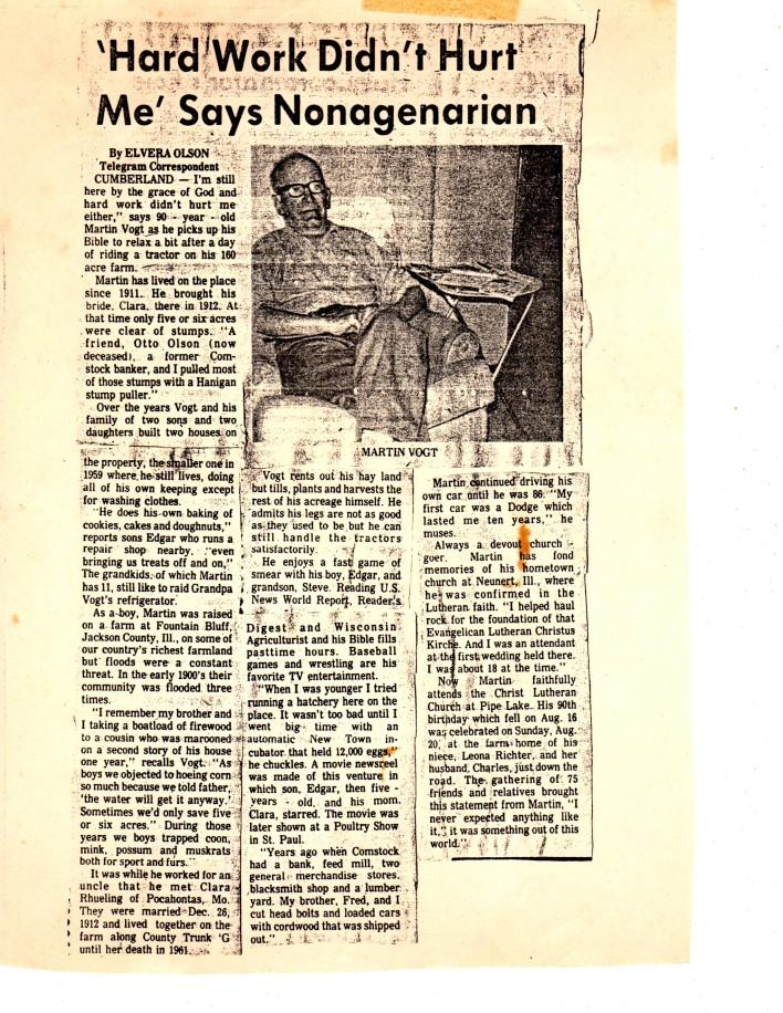 Martin Vogt newspaper article