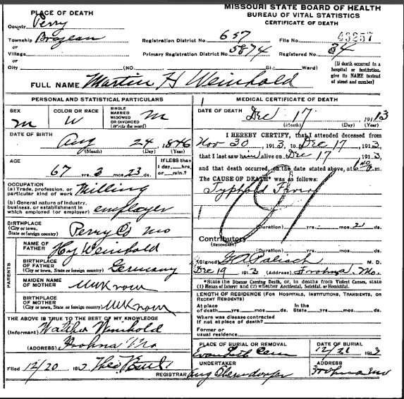 Martin Weinhold death certificate