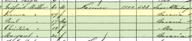 Paul Hoeh 1860 census Cinque Hommes Township MO
