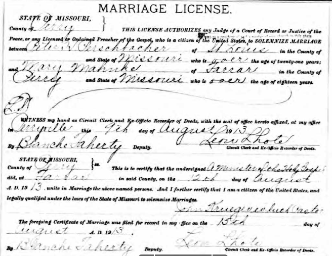 Perschbacher Mahnken marriage license