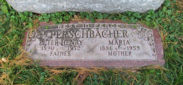 Peter and Maria Perschbacher gravestone Concordia St. Louis MO