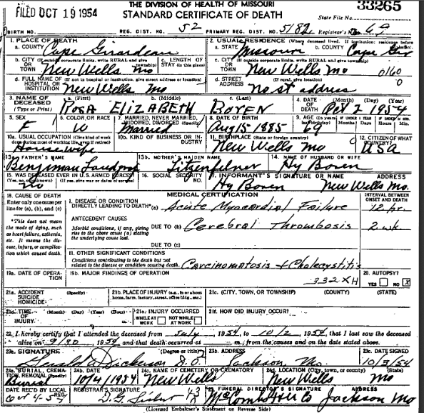 Rosa Boren death certificate Bodenschatz