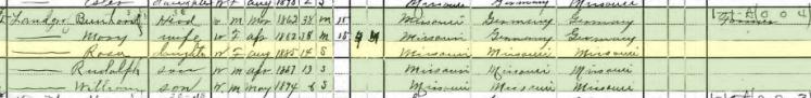 Rosa Landgraf 1900 census Apple Creek Township MO