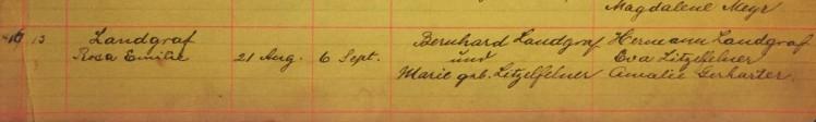 Rosa Landgraf baptism record Immanuel New Wells MO