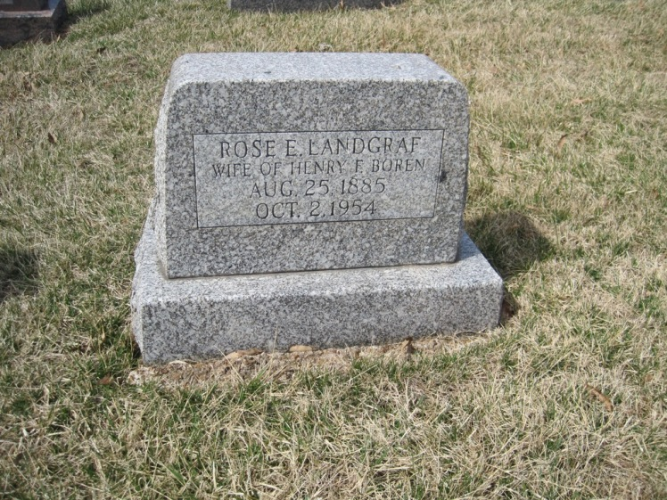 Rosa Landgraf Bodenschatz Boren gravestone Immanuel New Wells MO