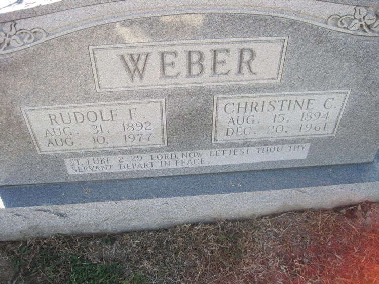 Rudolf and Christine Weber gravestone Trinity Altenburg MO