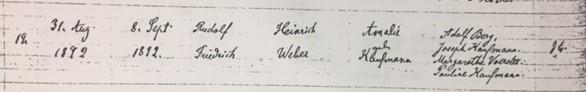 Rudolf Weber baptism record Trinity Altenburg MO