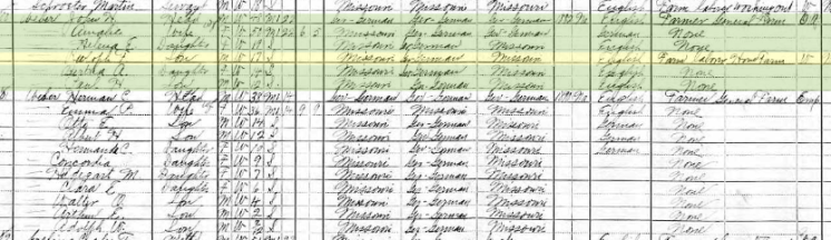 Rudolph Weber 1910 census Brazeau Township MO