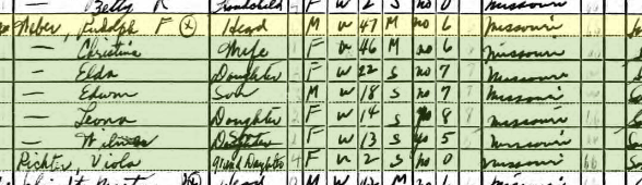 Rudolph Weber 1940 census Brazeau Township MO