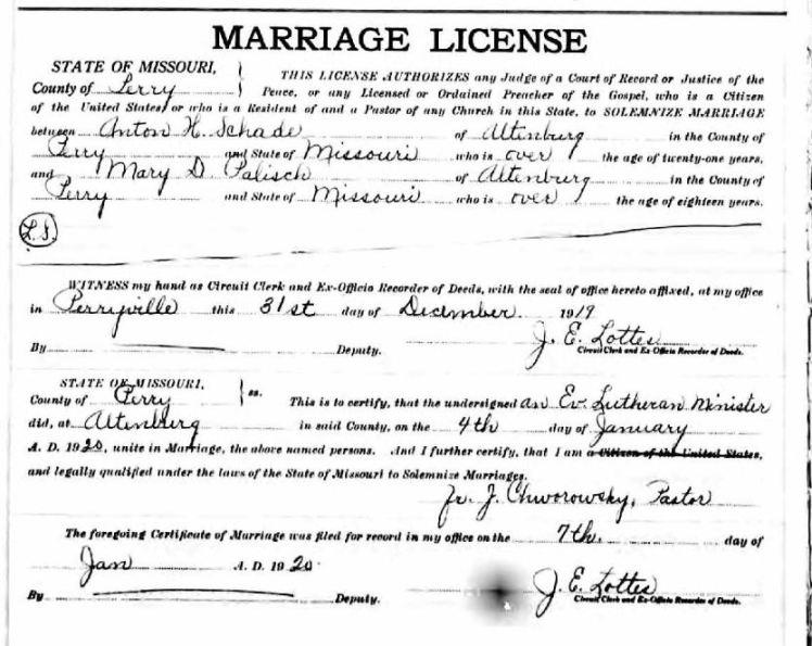 Schade Palisch marriage license