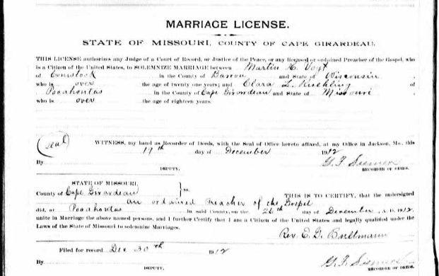 Vogt Ruehling marriage license