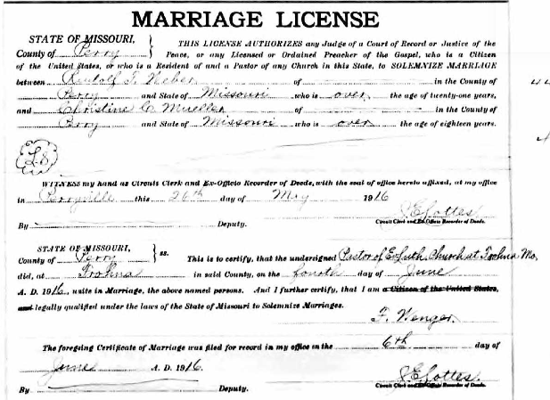 Weber Mueller marriage license