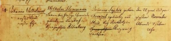 Wilhelmine Hemmann baptism record Grace Uniontown MO