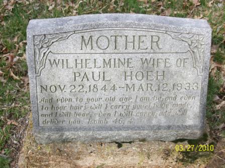 Wilhelmine Hoeh gravestone Grace Uniontown MO