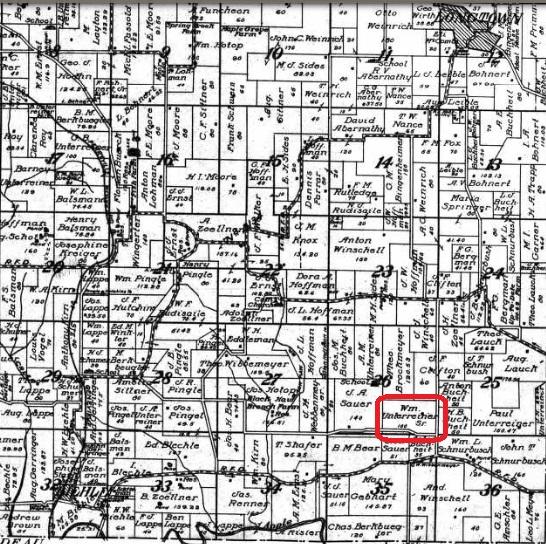William Unterreiner land map 1915